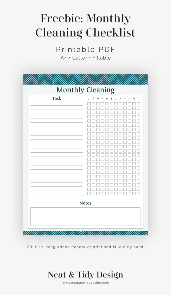 photo about Cleaning Checklist Printables referred to as Absolutely free printable: Regular monthly Cleansing List - Amazing and Tidy